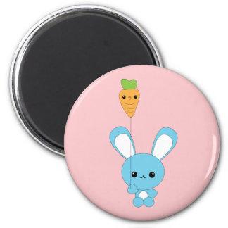 Cute kawaii blue bunny with carrot balloon magnet