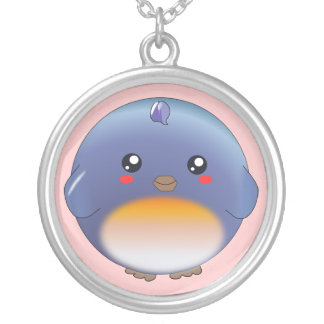 Cute kawaii bluebird necklace