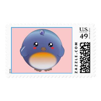Cute kawaii bluebird stamps