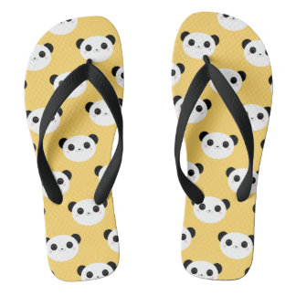 Cute Kawaii Blushing Panda Face Pattern Flip Flops