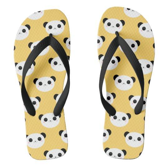 7ea695600c2abb Cute Kawaii Blushing Panda Face Pattern Flip Flops