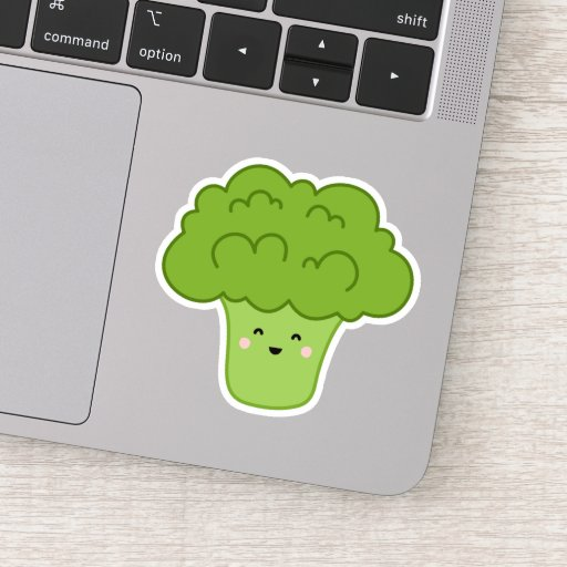 Cute kawaii broccoli cartoon character sticker