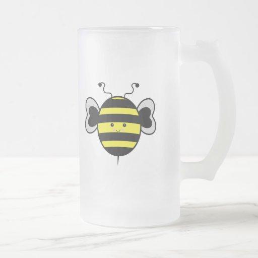 cute kawaii bumble bee 16 oz frosted glass beer mug