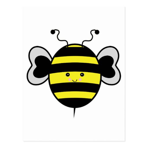 cute kawaii bumble bee postcard