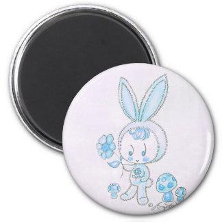 Cute kawaii bunny kid 2 inch round magnet