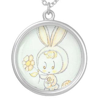 Cute kawaii bunny kid round pendant necklace