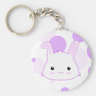 Cute Kawaii Bunny Rabbit Face in Lilac and White Keychain