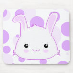 Cute Kawaii Bunny Rabbit Face in Lilac and White Mouse Pad