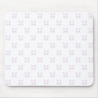 "Cute Kawaii Bunny Rabbit Face ""Polka Dot"" Pattern Mouse Pad"