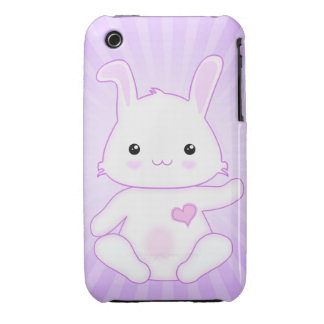 Cute Kawaii Bunny Rabbit in Purple and Lilac iPhone 3 Case-Mate Cases