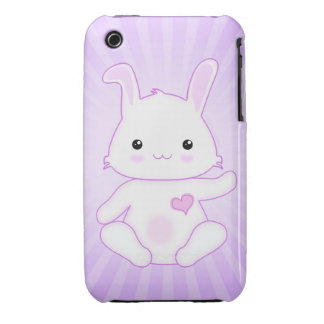 Cute Kawaii Bunny Rabbit in Purple and Lilac iPhone 3 Covers