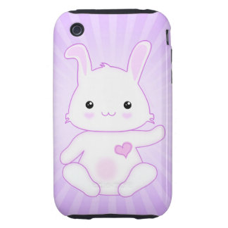 Cute Kawaii Bunny Rabbit in Purple and Lilac iPhone 3 Tough Cover
