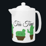 """Cute Kawaii Cactus Tea Time Medium Teapot<br><div class=""""desc"""">Serve tea in style or coffee if you wish. A modern yet elegant teapot with the cutest cactus in town. Decorated with custom elegant text for tea time. It's modern,  simple,  yet so cool.</div>"""