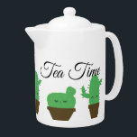 "Cute Kawaii Cactus Tea Time Medium Teapot<br><div class=""desc"">Serve tea in style or coffee if you wish. A modern yet elegant teapot with the cutest cactus in town. Decorated with custom elegant text for tea time. It&#39;s modern,  simple,  yet so cool.</div>"