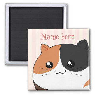Cute Kawaii Calico kitty cat 2 Inch Square Magnet