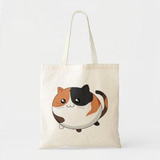 Cute Kawaii Calico kitty cat Budget Tote Bag