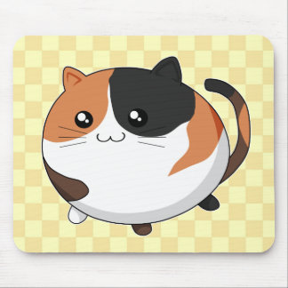 Cute Kawaii Calico kitty cat Mouse Pad