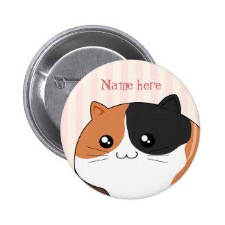 Cute Kawaii Calico kitty cat Pinback Button