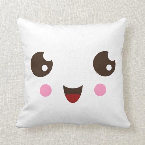 Cute Pillow : Cute kawaii cartoon face custom pillow Zazzle