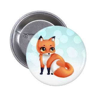 Cute Kawaii cartoon fox Pinback Button