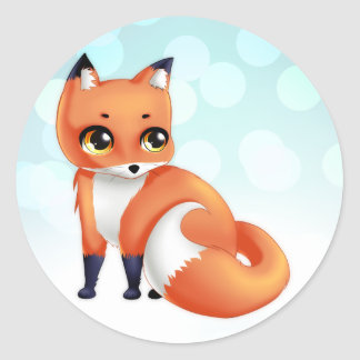 Cute Kawaii cartoon fox Classic Round Sticker