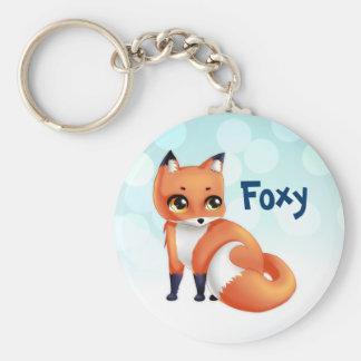 Cute Kawaii cartoon fox Basic Round Button Keychain