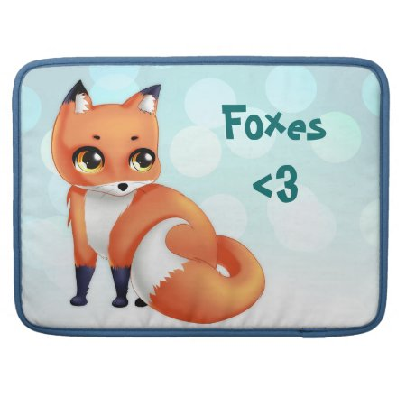 Cute Kawaii Cartoon Fox Macbook Pro Sleeve