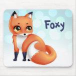 Cute Kawaii cartoon fox Mousepads