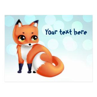 Cute Kawaii cartoon fox Postcard
