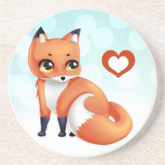 Cute Kawaii cartoon fox Sandstone Coaster