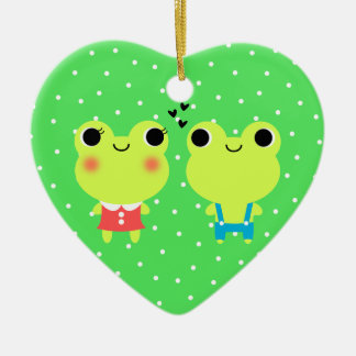 Cute Kawaii Cartoon Frog Couple Ornament