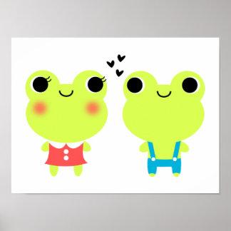 Cute Kawaii Cartoon Frog Couple Poster