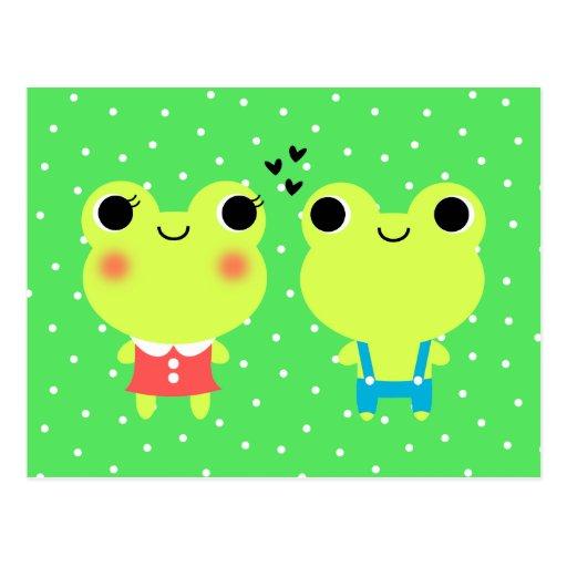 Cute Kawaii Cartoon Frog  Valentines Postcard