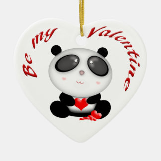 Cute Kawaii Cartoon Panda Bear Valentine Ornament