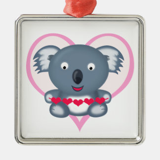Cute Kawaii Cartoon Valentine's Koala Bear Metal Ornament