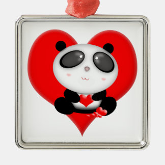 Cute Kawaii Cartoon Valentine's Panda Bear Metal Ornament
