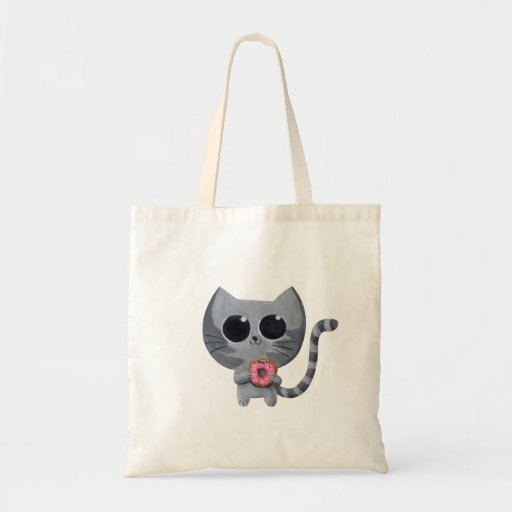 Cute Kawaii Cat with Donut Budget Tote Bag