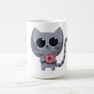 Cute Kawaii Cat with Donut Classic White Coffee Mug