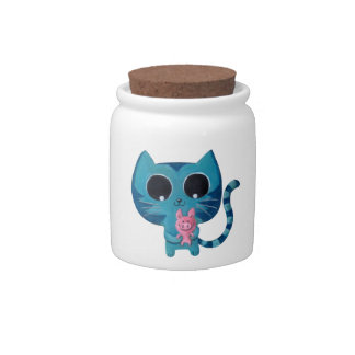 Cute Kawaii Cat with Pig Candy Jars