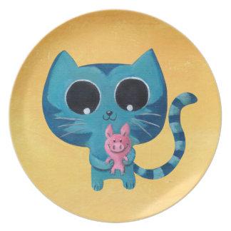 Cute Kawaii Cat with Pig Dinner Plate
