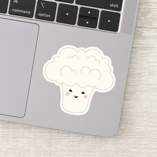 Cute kawaii cauliflower cartoon character sticker