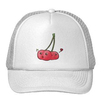 Cute kawaii cherries in love hat