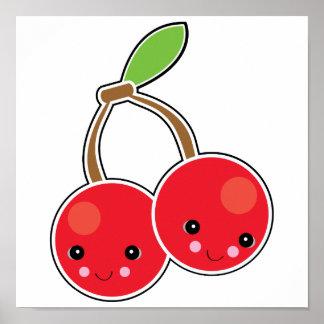 cute kawaii cherries posters