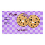 Cute Kawaii Chocolate Chip Cookie Couple Double-Sided Standard Business Cards (Pack Of 100)