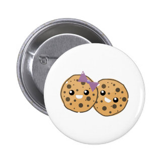 Cute Kawaii Chocolate Chip Cookie Couple Button