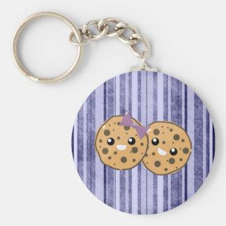 Cute Kawaii Chocolate Chip Cookie Couple Basic Round Button Keychain