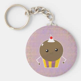 Cute Kawaii Chocolate Cupcake Guy Basic Round Button Keychain