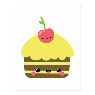 Cute Kawaii Chocolate Lemon Cake Postcard