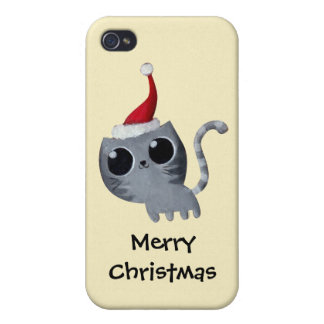 Cute Kawaii Christmas Cat Case For iPhone 4