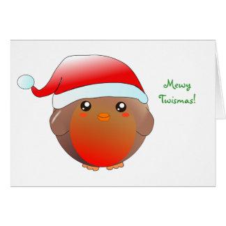 Cute kawaii Christmas Robin Card